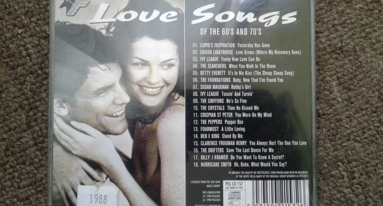 CD LOVE SONGS OF THE 60'S AND 70'S
